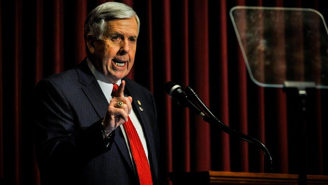 Missouri Governor Mike Parson delivers the 2019 State of the State Address before the General Assembly and guests at the Capitol Building in Jefferson City.