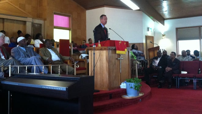 Maryland Gov. Martin O'Malley speaks at Mount Hebron Missionary Baptist Church in Des Moines on Sunday.