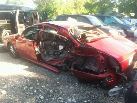 Brandon's car after her accident. One coach wondered how she made it when he saw the car.