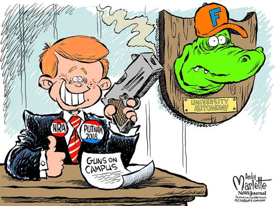 """Adam Putnam pledges loyalty to National Rifle Association of America over University of Florida."""