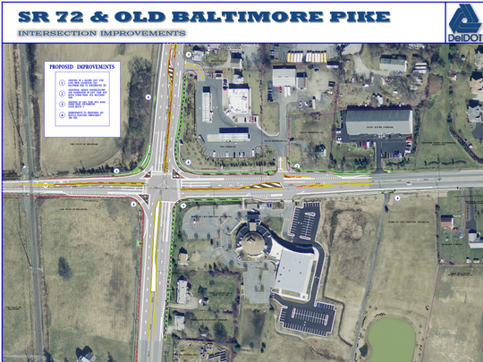 Construction on Del. 72 and Old Baltimore Pike will close a portion of the roadway on Monday.