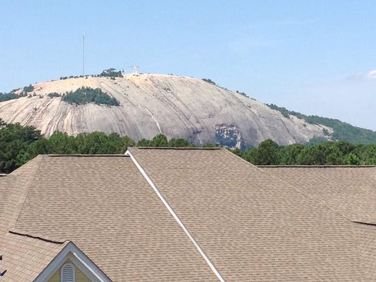 View of Stone Mountain, outside the window of Bobby and Bonnie Barnett's condo.