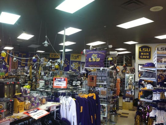 Tiger Town, featuring LSU gear, is located on Shreveport's