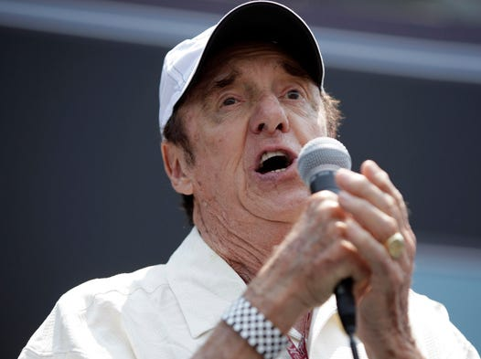 "Jim Nabors sings ""Back Home Again in Indiana"" before the start of the Indianapolis 500 in 2010. Nabors singing the sentimental song has been a pre-race tradition at the Indianapolis Motor Speedway since 1972."
