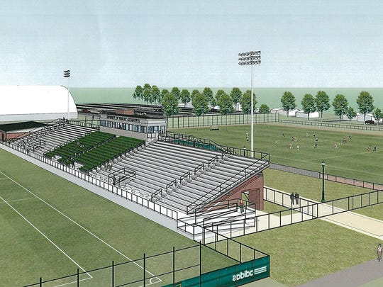 An artist's rendering of the grandstand to be built this summer at the University of Vermont's Virtue Field, home of the school's soccer and lacrosse programs, shows the facility from the south.