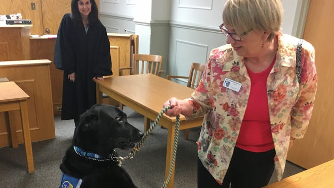 """""""Molly B"""" visits Juvenile & Domestic Relations Court on Monday with Ellen O'Neill-Stephens as Judge Linda Schorsch Jones looks on."""