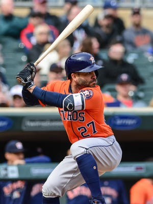Jose Altuve leads the majors with 52 hits.
