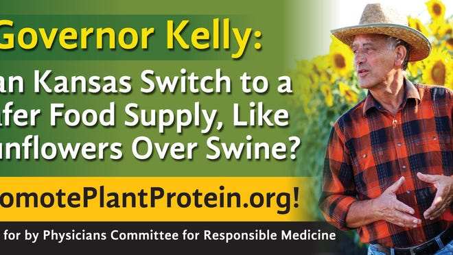 Billboards flanking downtown Topeka are meant to encourage Kansas policymakers to advocate for plant-based protein.