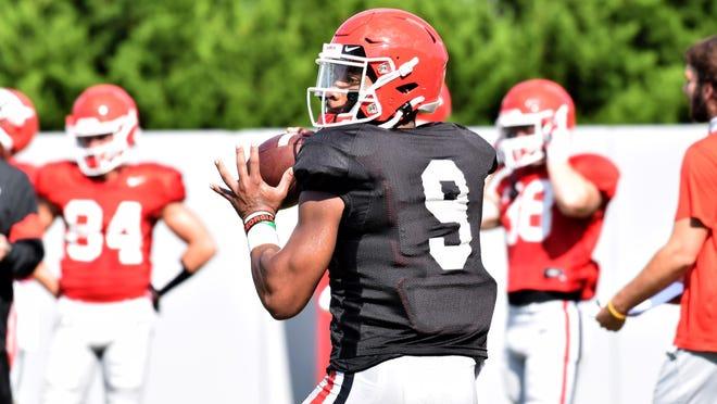 Georgia quarterback Jamie Newman (9) during the Bulldogs' practice in Athens, Ga., on Monday, Aug. 31, 2020.