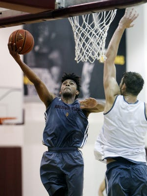 Freshman guard Remy Martin scores a layup. Members of Arizona State's men's basketball team practiced early Tuesday afternoon in preparation for a team trip through Europe where they will play three games against professional opponents.