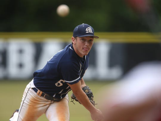 Maclay's Lucas Briggs pitches in their District 1-3A championship game at NFC on Friday, May 5, 2017.