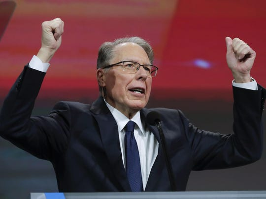 National Rifle Association Executive Vice President Wayne LaPierre speaks at the NRA Annual Meeting of Members in Indianapolis, April 27, 2019.