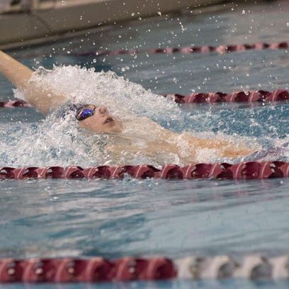 Randolph freshman backstroker Vinny Marciano leads off the 200-yard medley relay.