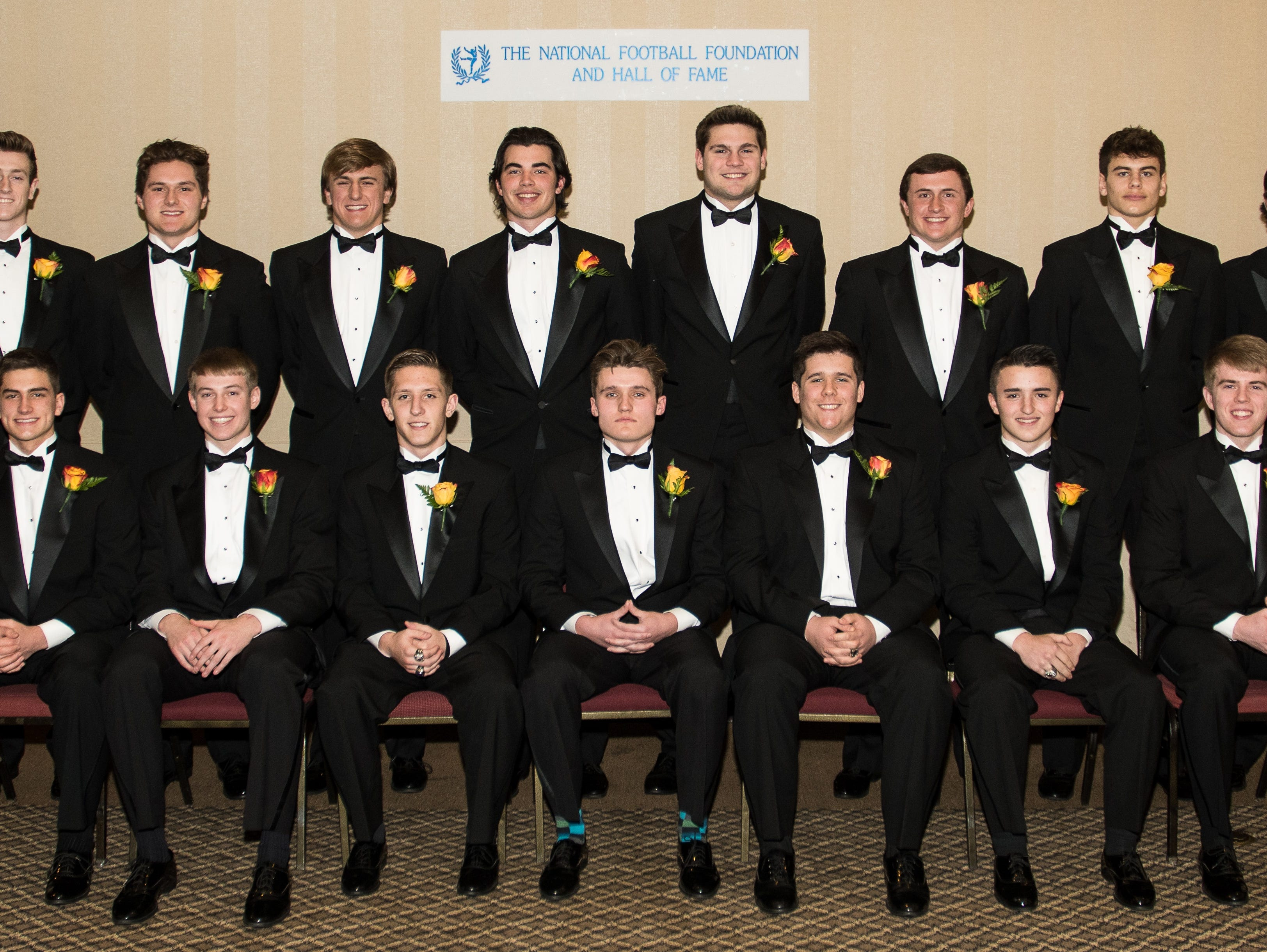 The Scholar-Athlete finalists at the National Football Foundation Oregon Banquet are (back row from left) Tanner Scanlon of North Marion, Jackson Platt of Beaverton, Jack Suing of Kennedy, Brandon Leitgeb of Lincoln, Lukas Nixon of Sherwood, Nick Wiley of Sunset, Eric Gustin of Regis, Tanner Earhart of Dallas and (front row from left) Fridtjof Fremstad of Astoria, Brett Traeger of Kennedy, Cole Sipos of Lebanon, Conner Morris of Newberg, Dominic Federico of Cascade, Tyler Hargis of Lebanon and Tyler Miller of Lebanon.