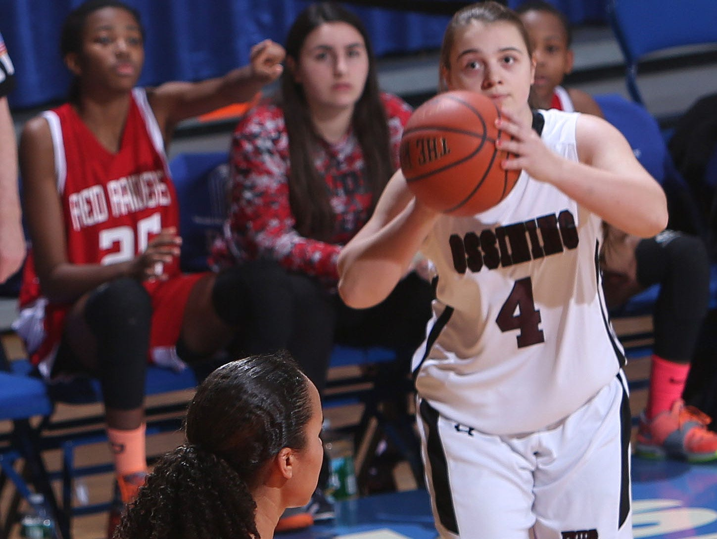 Ossining defeated North Rockland 82-62 in the girls basketball Section 1 Class AA semifinal at the Westchester County Center in White Plains Feb. 26, 2015.