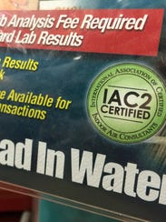 The Pro-Lab Lead In Water Test Kit  package has a certification