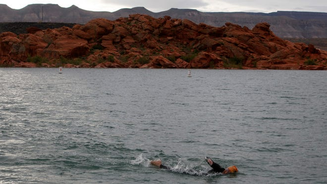 Ironman 70.3 St. George participants compete in the swim portion of the event in  the waters of Sand Hollow Reservoir Saturday, May 7, 2016. The reservoir was more than 90 percent full on Wednesday - the most full it's been since 2010.