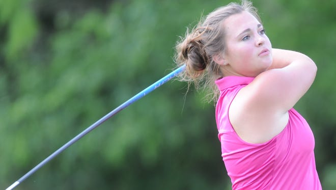 Cooper sophomore Megan Wilcox watches her tee shot from No. 10 during practice Thursday, April 20, 2017 at Diamondback Golf Club. Wilcox, who didn't start playing golf until last season, qualified for the Region I-5A tournament, which will be Monday and Tuesday at The Rawls in Lubbock.