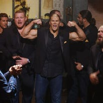 """Jordan Rodgers and Green Bay Packers players T.J. Lang, Clay Matthews, Don Barclay, David Bakhtiari and Josh Sitton compete against the Barden Bellas in """"Pitch Perfect 2."""""""