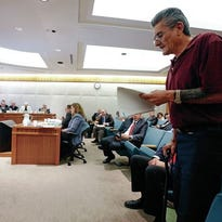 Greg Vialpando, from Santa Fe, speaks to the House Judiciary Committee on Wednesday in opposition of Rep. Randal Crowder's HB 195. The bill would remove the requirement that medical cannabis be a reimbursable benefit after injury or disablement.