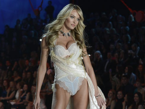 A model walks the runway at the Victoria's Secret 2013 Fashion Show at the 69th Regiment Armory in New York City.