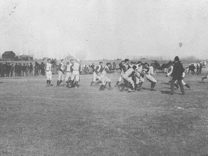 While it hadn't adopted the Rocky Mountain Showdown name at the time, CSU and CU met for the first time in 1893. The game was played on the east side of College Avenue in Fort Collins between Plum and Locust streets. The teams weren't yet known as the Buffaloes or Aggies.