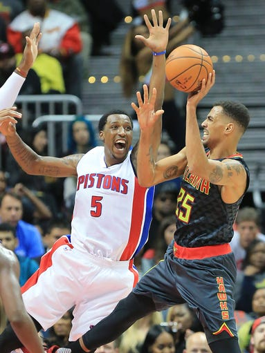The Detroit Pistons' Kentavious Caldwell-Pope (5) defends