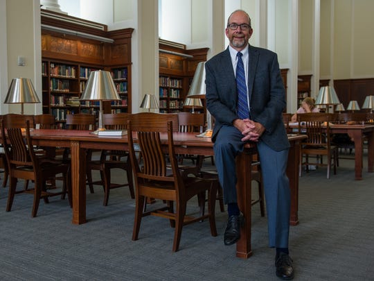 Kent Oliver, director of the Nashville Public Library, poses in the library's Grand Reading room in Nashville, Tenn., Tuesday, June 6, 2017. The Nashville Public Library was named the 2017 Library of the Year by Library Journal, due in part for its community programs and extracurricular K-12 programs tied to early literacy.