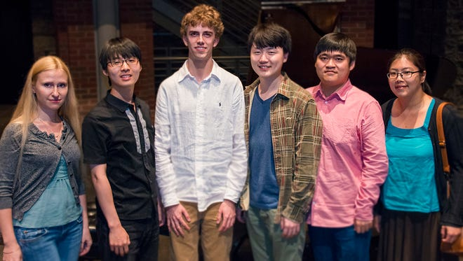 Six semifinalists were chosen to move on in the World Piano Competition: (from left) Anastasiya Naplekova, Sung-Soo Cho, Reed Tetzloff, Feng Bian, Moye Chen and Sangyoung Kim.