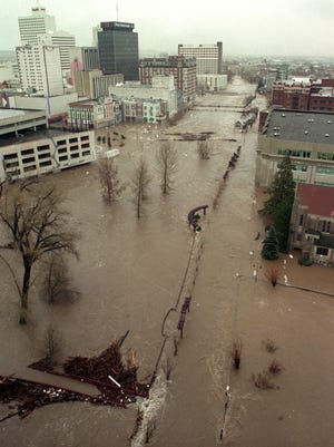 Downtown Reno is flooded on Jan. 1, 1997. The Virginia Street Bridge can be seen in the distance.