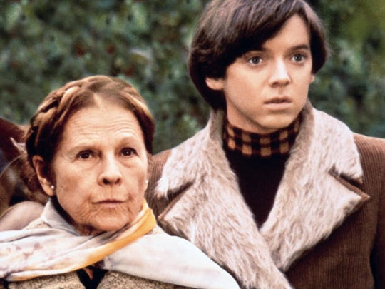"Ruth Gordon and Bud Cort star in the 1971 film ""Harold and Maude."""