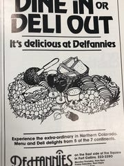 An advertisement for Delfannies, a restaurant previously located at Foothills Fashion Mall.