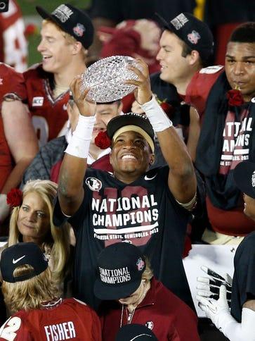 Florida State quarterback Jameis Winston celebrates