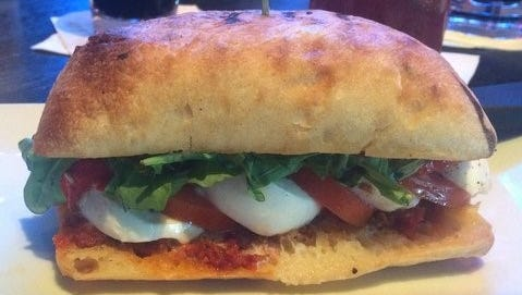 For healthier meatless eating, try the fresh mozzarella sandwich; beyond marinated romas and fresh cheese, layers of sundried tomato pesto and roasted sweet red peppers pack it with flavor.