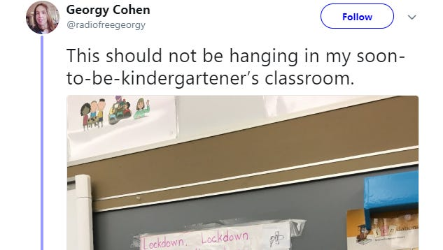 """Georgy Cohen, from Somerville, Mass., posted a photo of the colorful sign hanging in her young daughter's class. She said it, """"this should not be hanging in my soon-to-be-kindergartener's [sic] classroom."""""""
