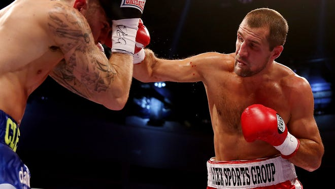 Sergey Kovalev fights Nathan Cleverly in a 2013 bout in Cardiff, Wales.