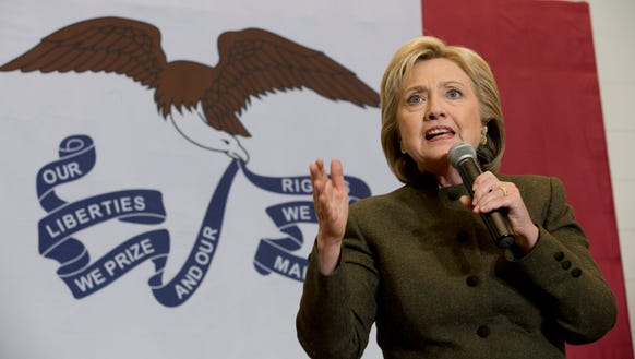 Hillary Clinton speaks during a campaign event at the