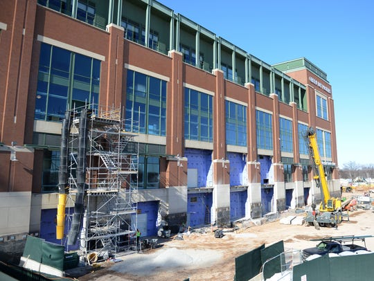The east side of the Lambeau Field Atrium is part of