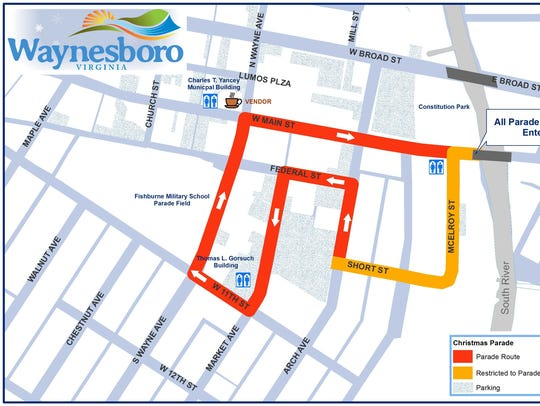 Route for Waynesboro Christmas Parade.