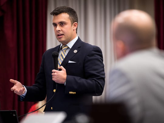 Metro Councilman Colby Sledge speaks before a vote on a MLS stadium plan during a Metro Council meeting at the Metro Courthouse in Nashville, Tenn., Tuesday, Nov. 7, 2017.