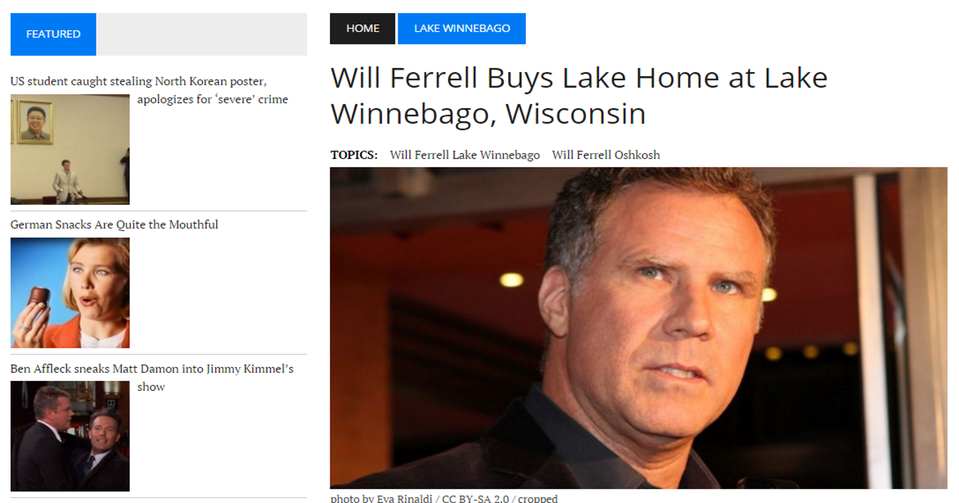 Is Will Ferrell moving to Wisconsin? Uh, no