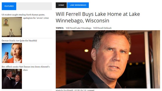 This screen shot of KY6 NEWS shows the fake report that Will Ferrell has bought a home on Lake Winnebago.