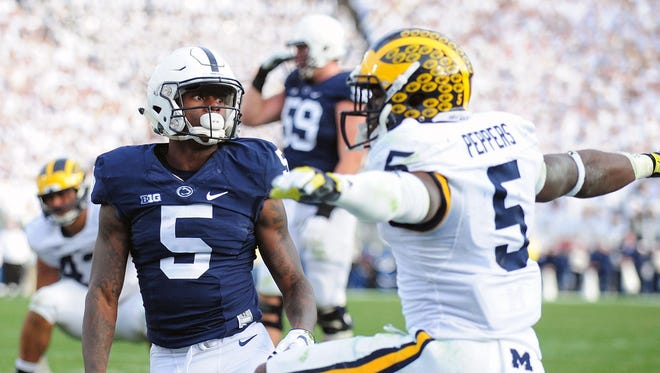 Michigan's Jabril Peppers reacts after a pass intended for Penn State's DaeSean Hamilton falls incomplete at Beaver Stadium on Saturday.