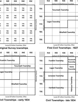 Diagram of the official designations of the original survey townships and changes in civil township lines through 1834.