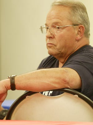 Manitowoc County board member Don Zimmer sat in attendance Thursday, July 6, 2017, inside the Sheboygan County Republican Party headquarters for a presentation and discussion about a proposed National Marine Sanctuary in Lake Michigan.