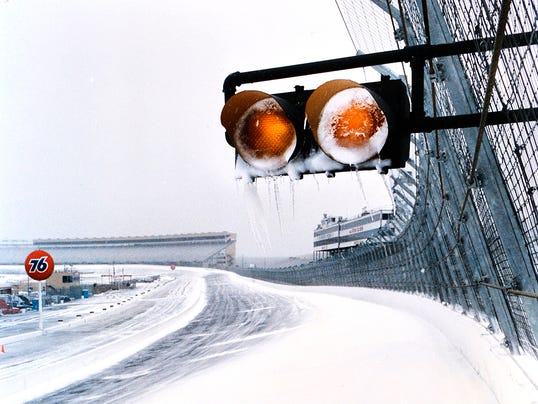 atlanta motor speedway snow caution