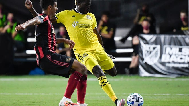 The Crew's offensive production has been led by forward Gyasi Zardes, right, who has five goals over the first six games.