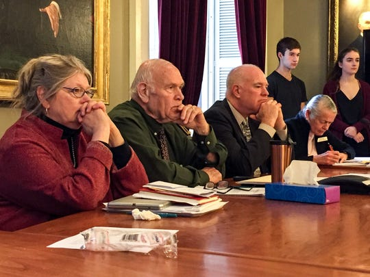 Members of the Senate Judiciary Committee including Chairman Dick Sears, second from left, listen to testimony about gun violence from Vermont high school students on Feb. 22, 2018.