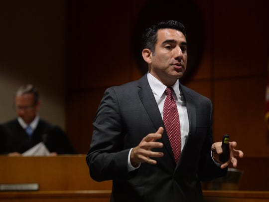Senior Deputy District Attorney Rameen Minoui makes closing remarks to the jury in the murder case against Jane Laut in March 2016.