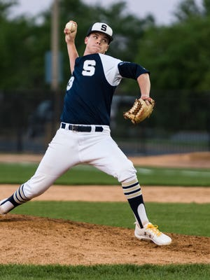Salesianum's Eugene Holler, seen here against St. Mark's, helped pitch the Sals into the DIAA baseball quarterfinals as he blanked Milford on Saturday